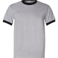 01320 - Anvil Adult Heavyweight Ringer T-Shirt 923 - Heather Black - front