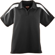 AU5087 - LADIES WICKING TEXTURED COLOR BLOCK SPORT SHIRT - black