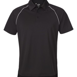 SS13853 adidas Golf ClimaLite_ Piped Polo A82 - black - front