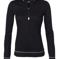 SS49907 - alo Ladies' Long Sleeve Half-Zip Hooded Pullover W3002 - black - front