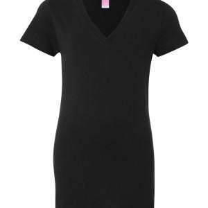SS54238 - LAT Junior Fit Fine Jersey V-Neck Longer Length T-Shirt 3607 - black - front