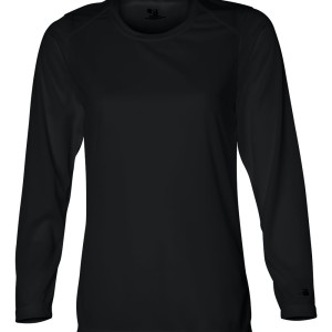SS56585 - Badger Ladies' B-Dry Long Sleeve T-Shirt 4164 - black - front